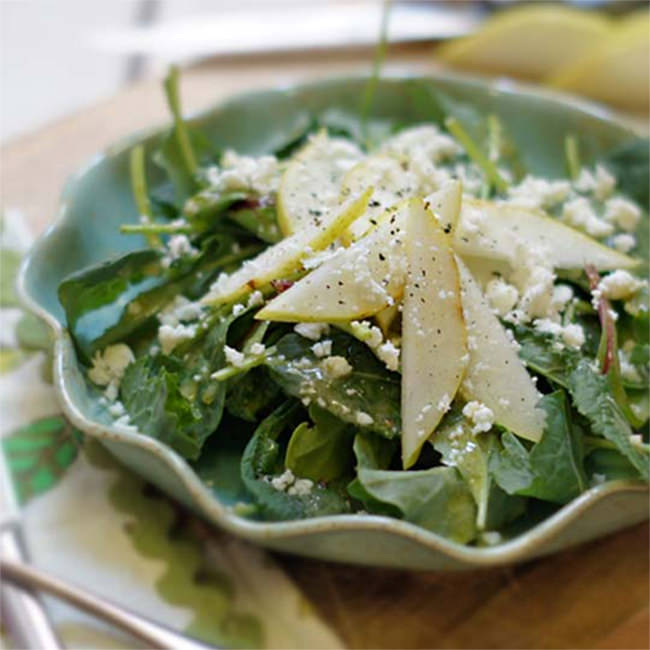 Kale and Pear Salad with Feta with Ariston Extra Virgin Olive Oil & Traditional Balsamic