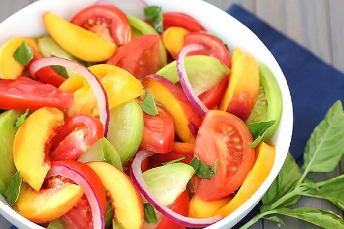 Tomato and Peach Salad  with Ariston Extra Virgin Olive oil & Summer Peach Balsamic